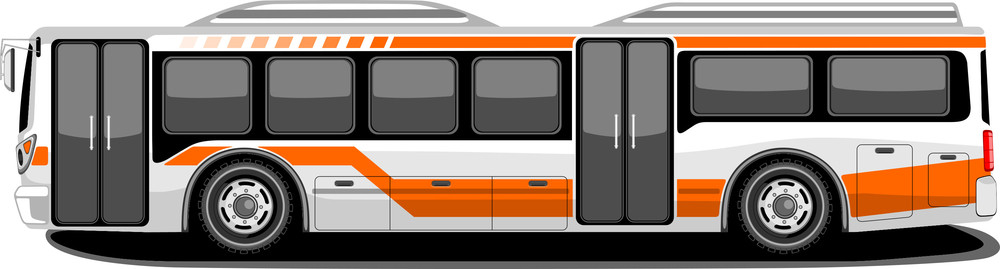 Side View Of Public Transport Bus In Orange And White Color