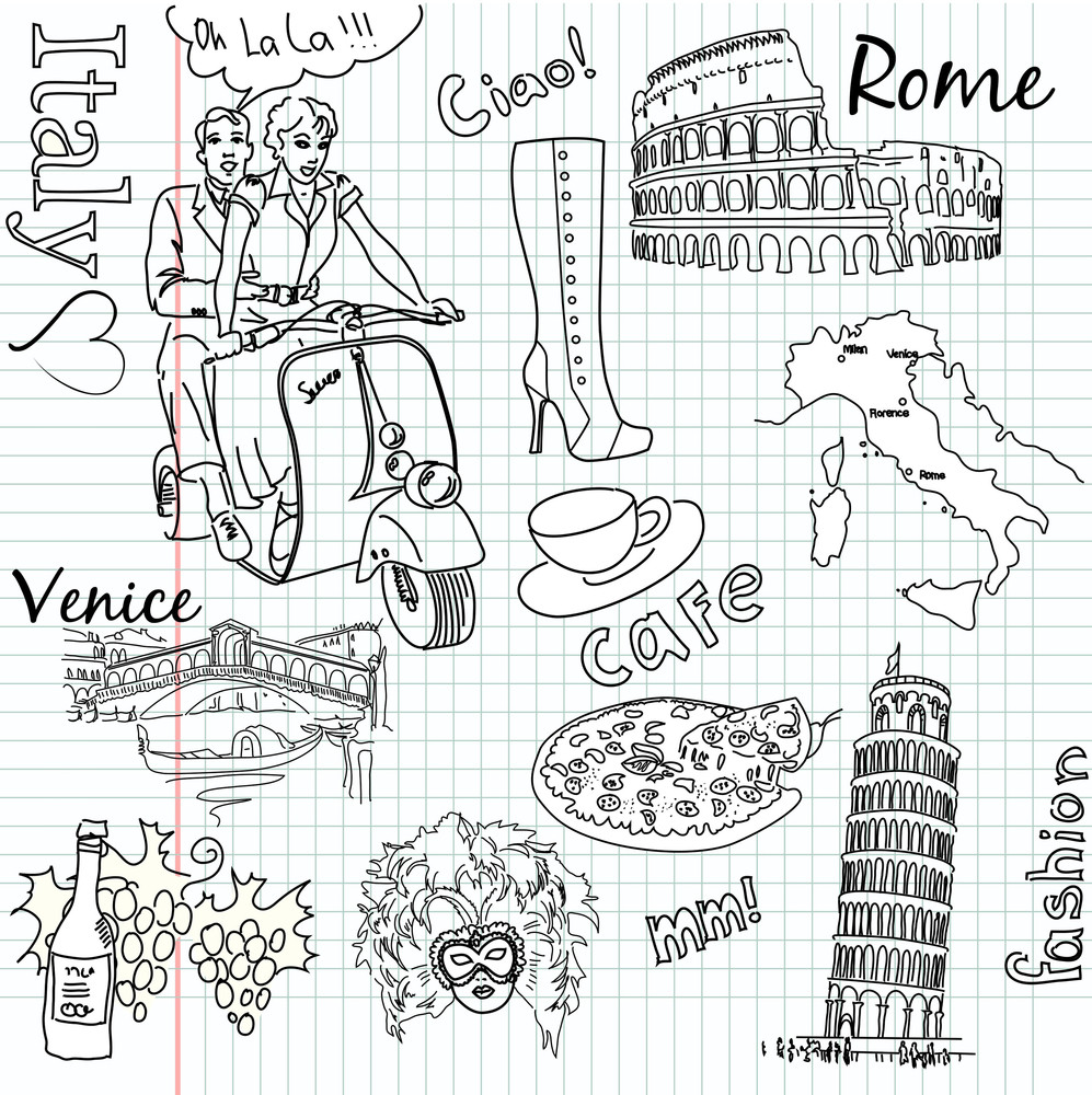 Sightseeing In Italy Doodles