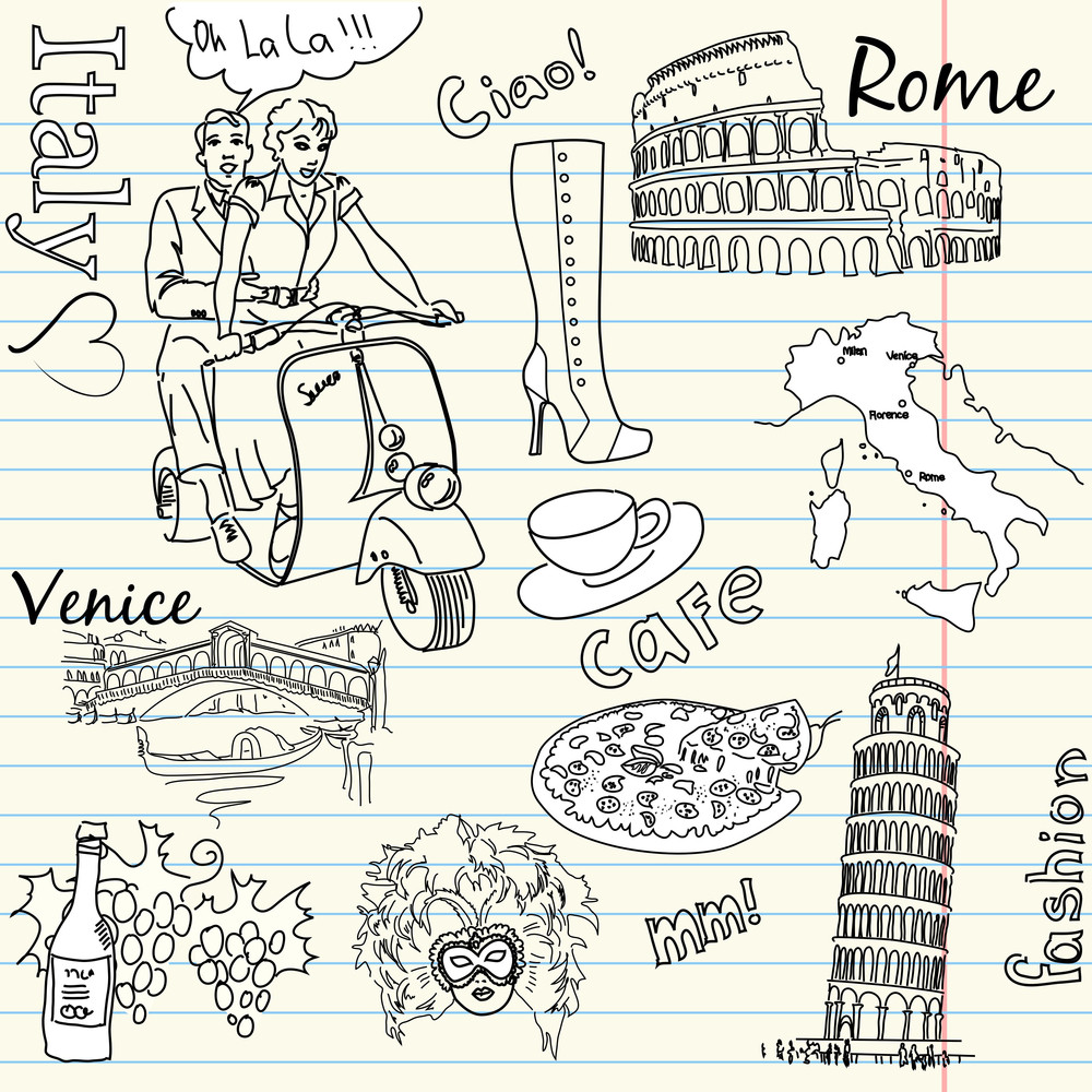 Sightseeing In Italy Doodles--