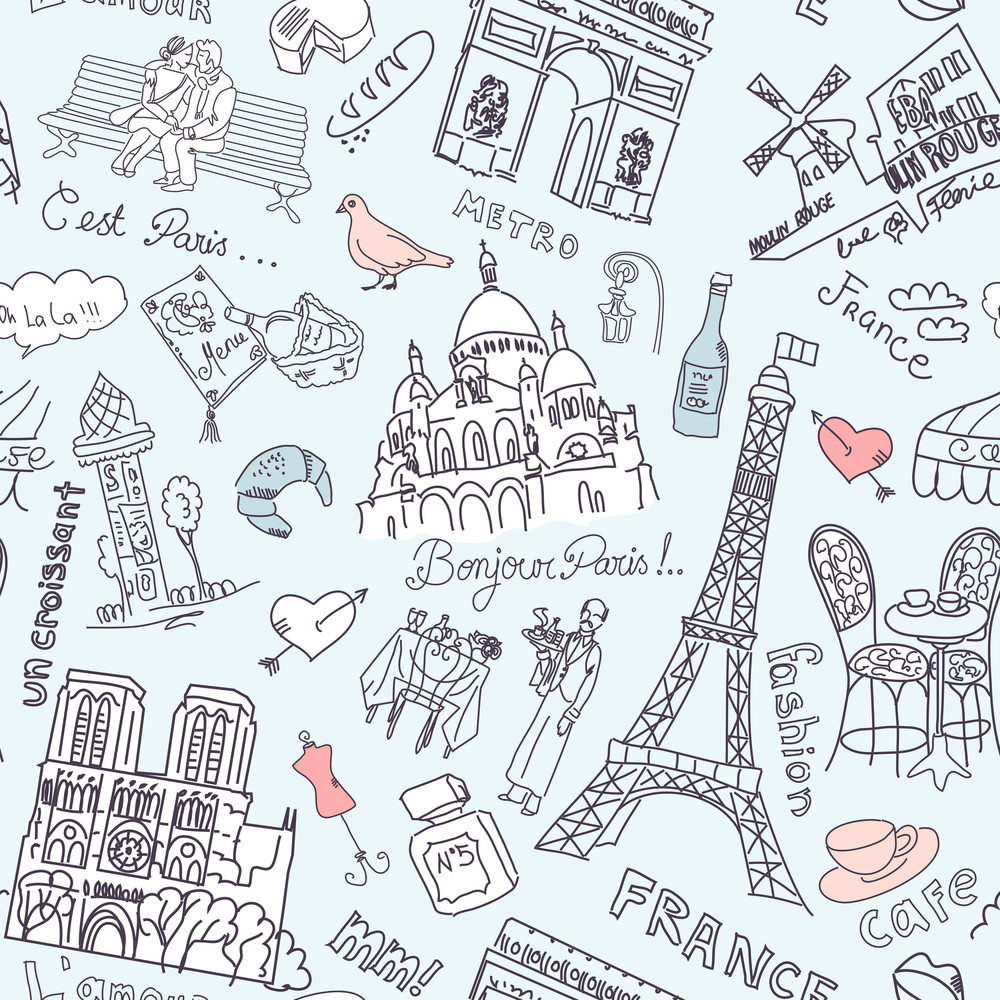 Sightseeing In Paris Seamless Doodles Background