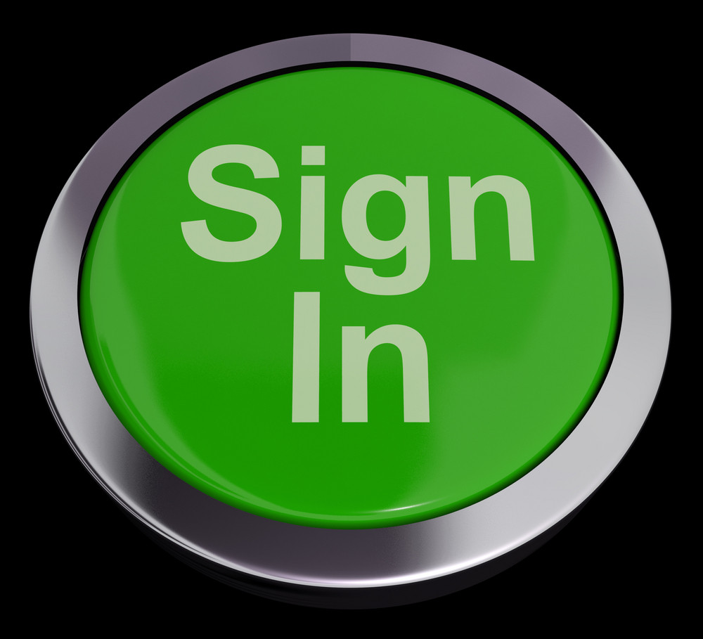 Sign In Button Green Showing Website Login