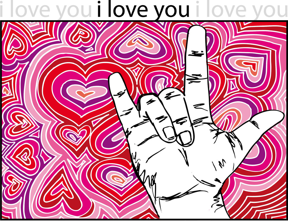 Sign Language For I Love You With Abstract Hearts Background. Vector Illustration