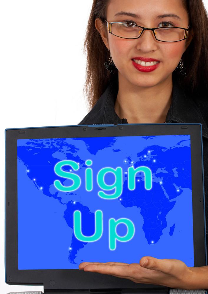 Sign Up Computer Message Shows Online Registration