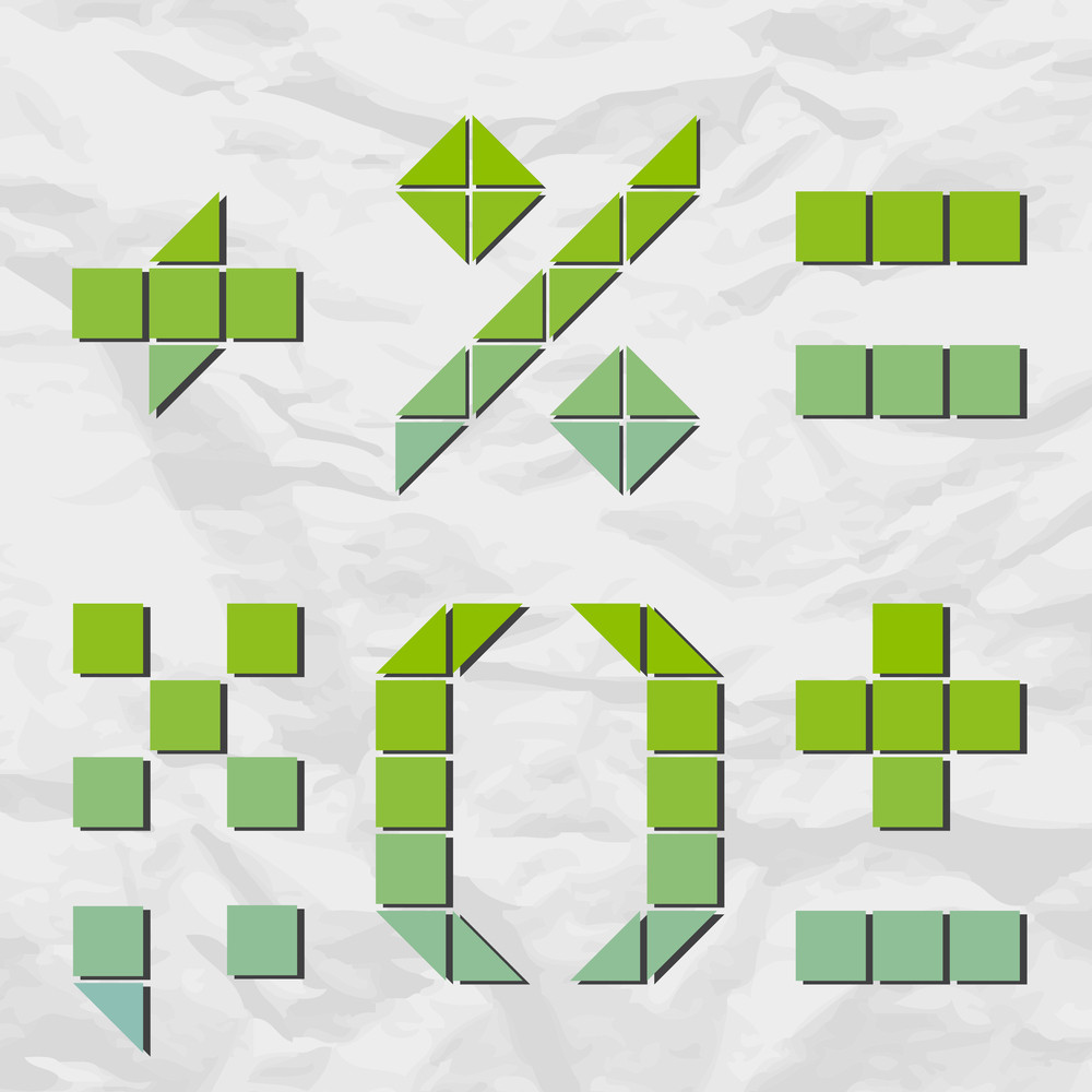 Signs And Marks From Squares And Triangles On A Paper-background. Vector Illustration