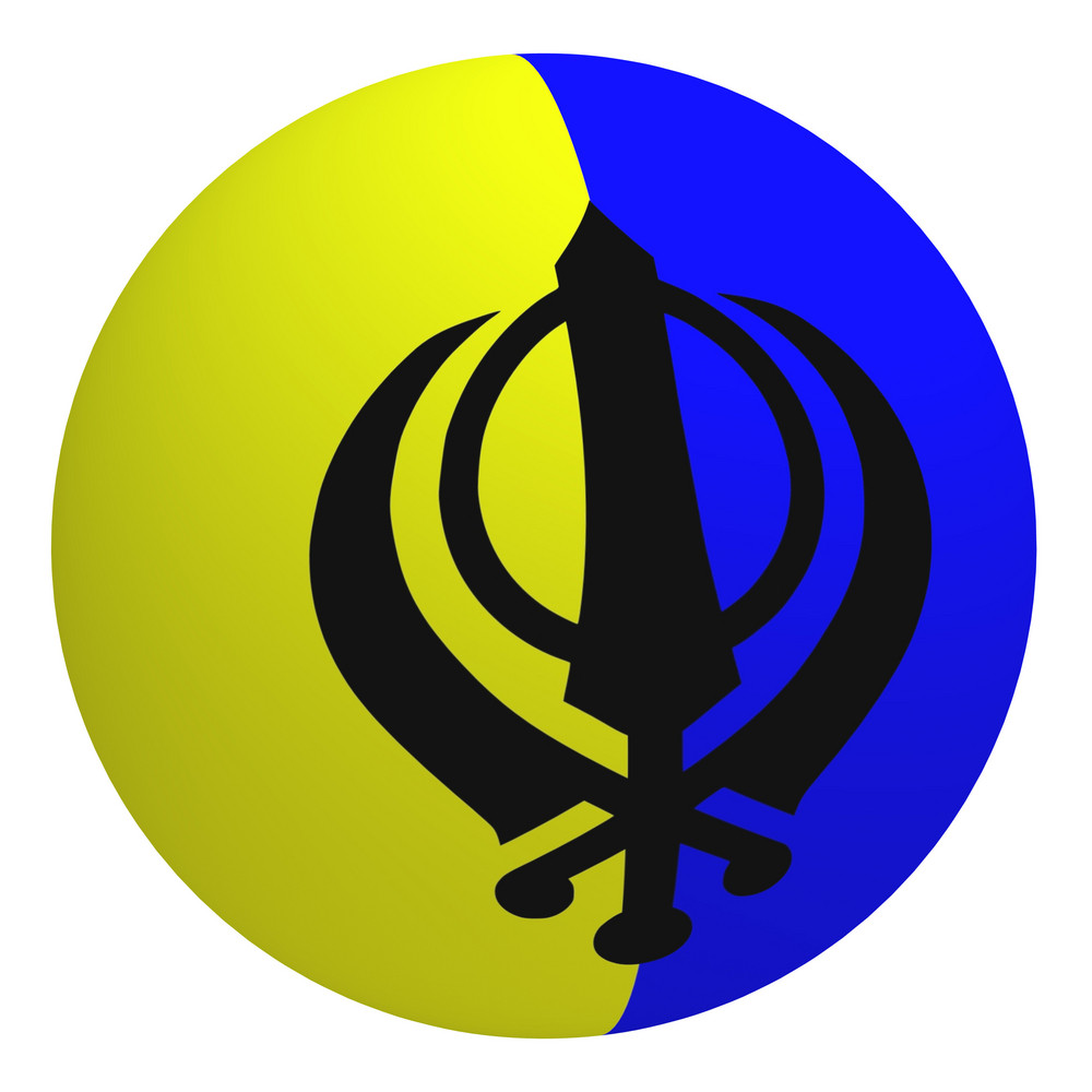 Sikhism Flag On The Ball Isolated On White.