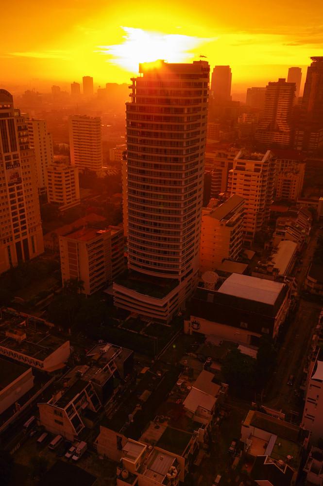 silhouette Bangkok city on morning