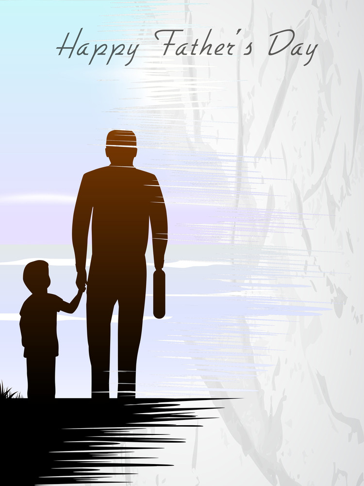 Silhouette Of A Father Holding His Child Hand