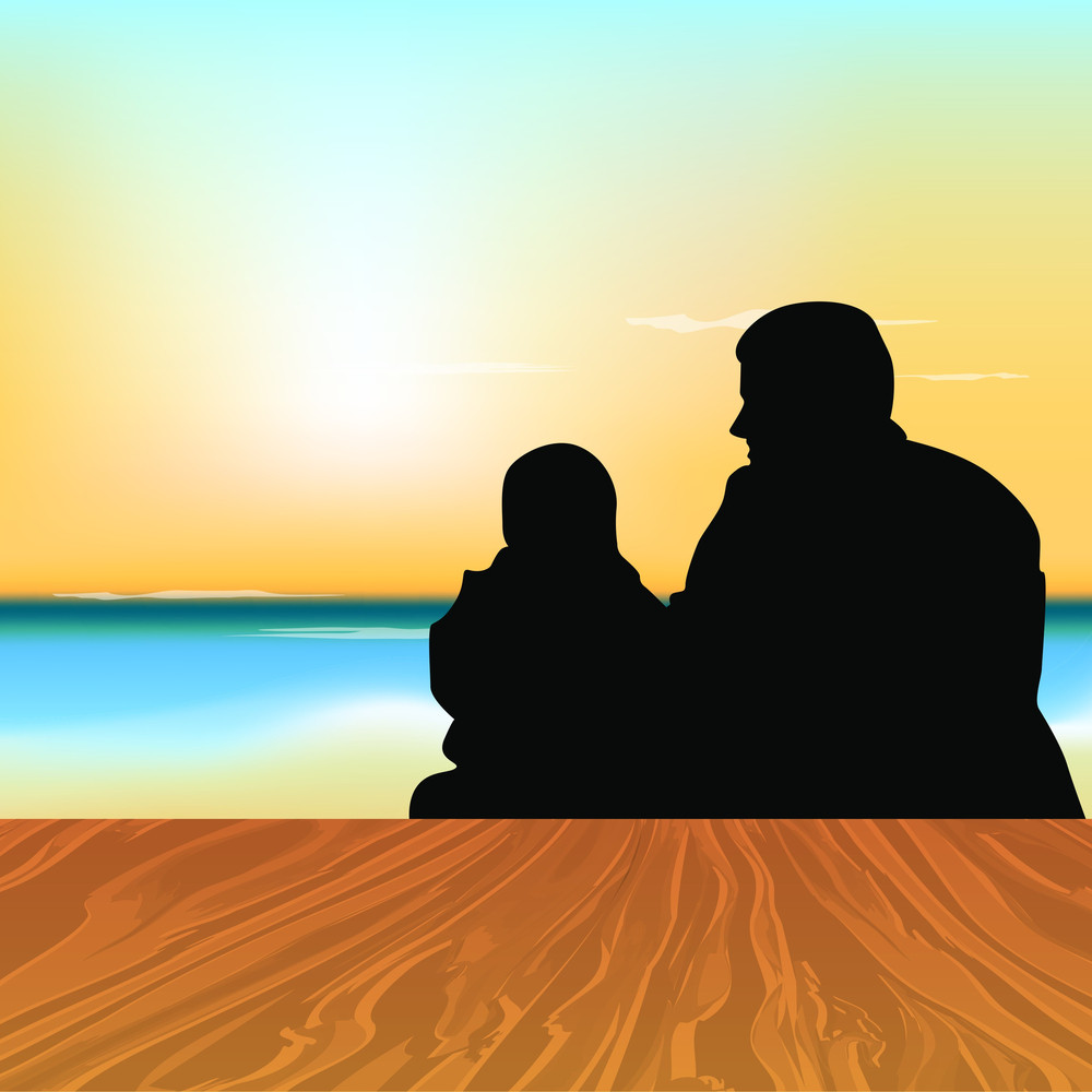 Silhouette Of A Father With His Child Sitting In Evening Background