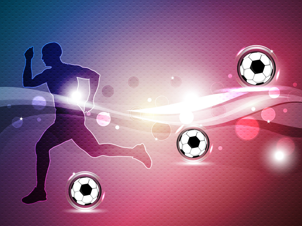 Silhouette Of A Football Player With Shiny Soccer Balls On Shiny Wave Background.