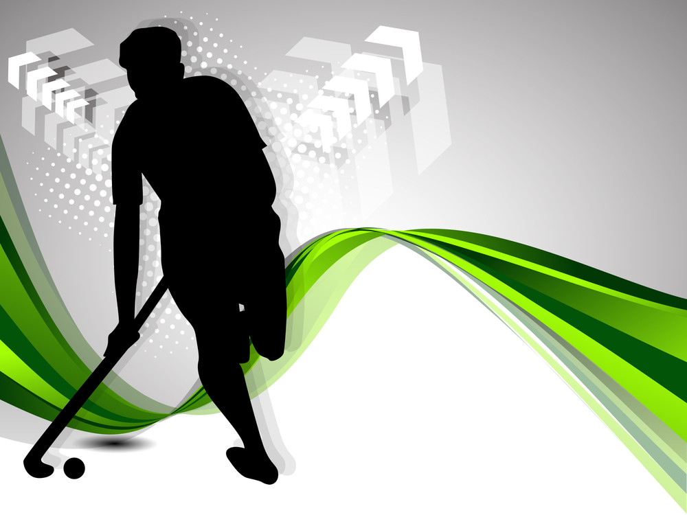 Silhouette Of A Hockey Player With Hockey Stick And Ball On Colorful Green Abstract Wave Background.