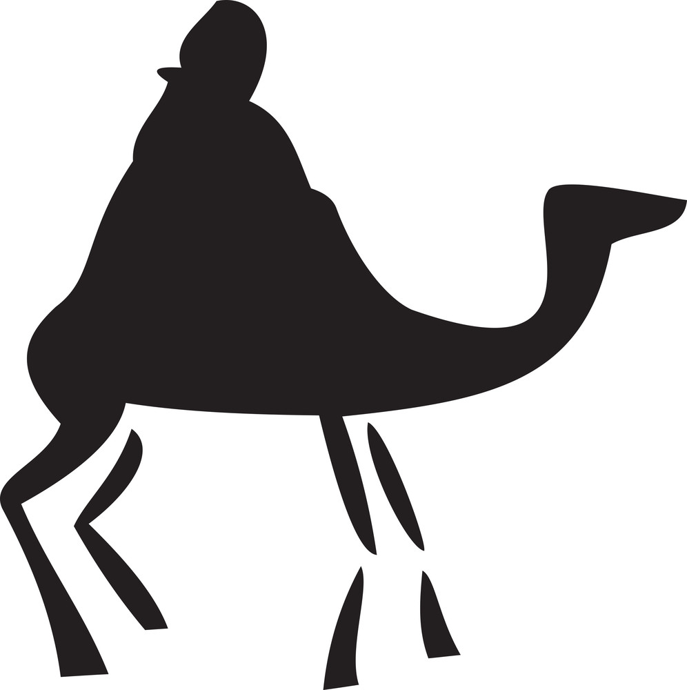 Silhouette Of A Man With Camel.