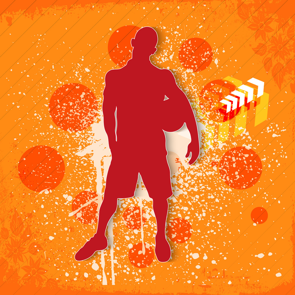 Silhouette Of A Soccerball Player On Grungy Orange Background.