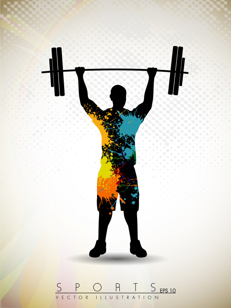 silhouette of a weight lifter with heavy weight on abstract red wave background