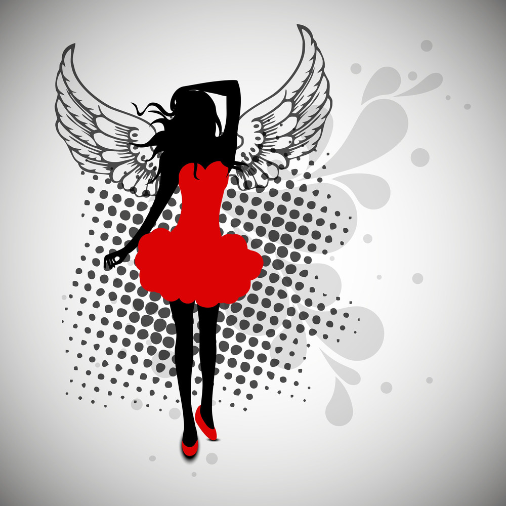 Silhouette Of A Young Girl In Red Dress On Vintage Abstract Background