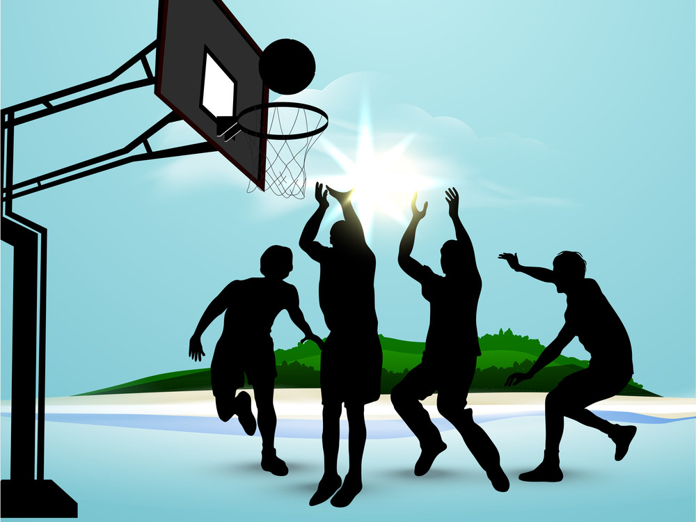 Silhouette Of Basket Ball Players Playing At Seaside.