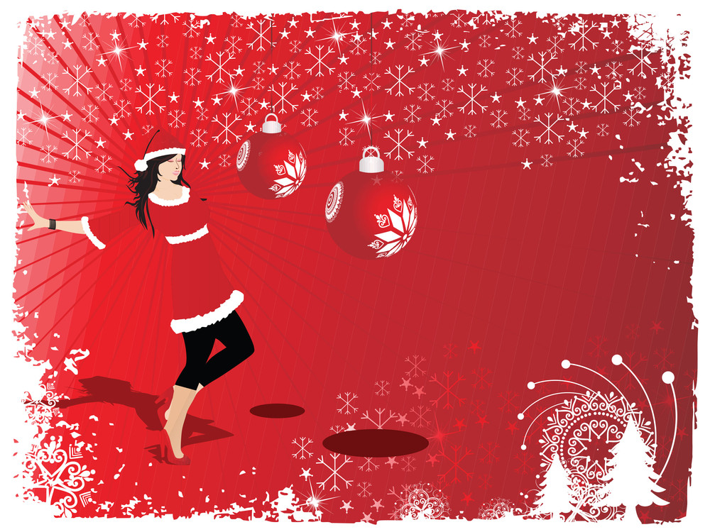 Silhouette Of Beautifull Girl In Santa Dress