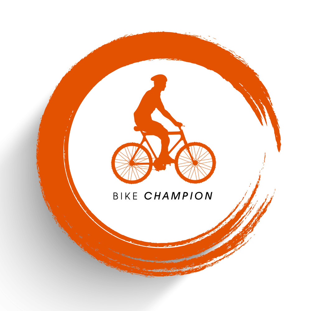 Silhouette Of Bmx Cyclist On Orange And White Background.
