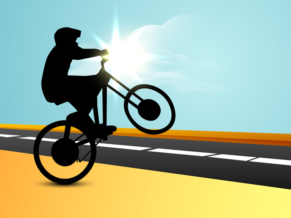 Silhouette Of Bmx Cyclist With On Track.