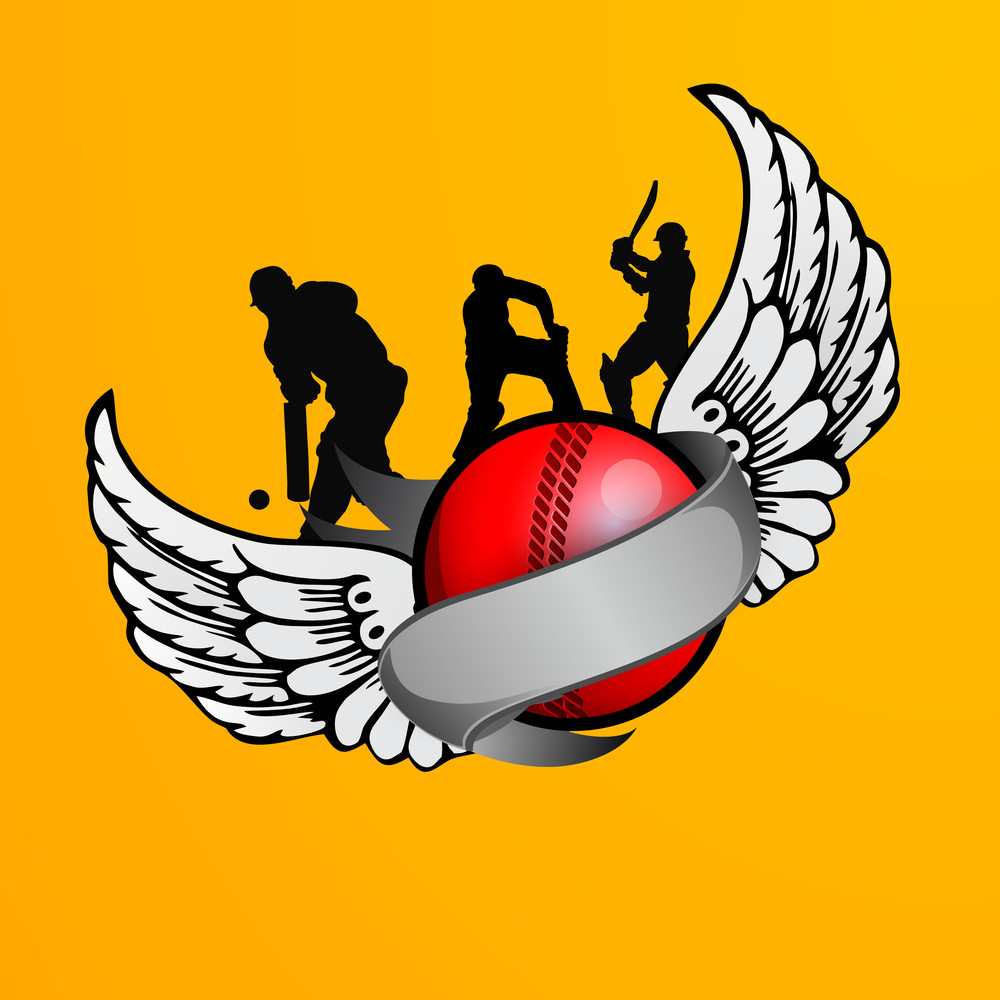 Silhouette Of  Cricket Players In Various Actions With Red Ball And Wings On Yellow Background.