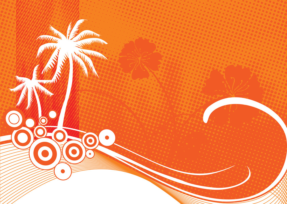Silhouette Of Palm Tree On Floral Background