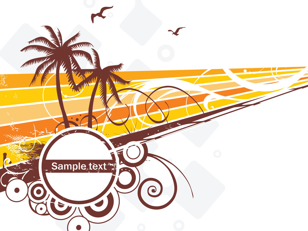 Silhouette Of Palm Trees And Halftone Elements