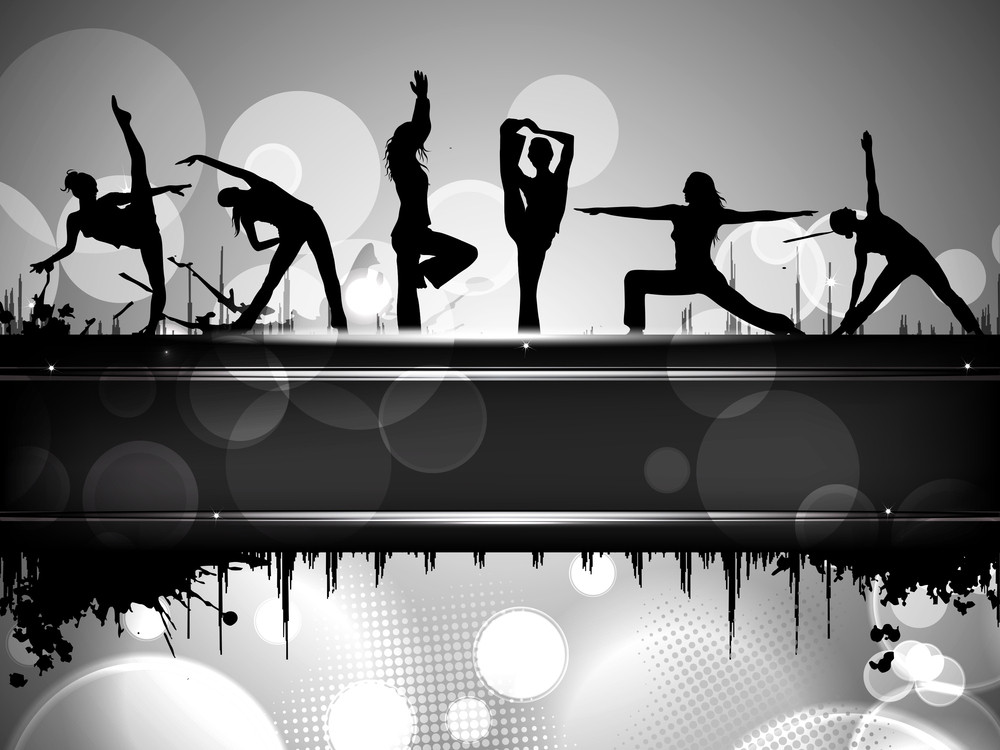 Silhouette Of Sports Persons On Colorful Grungy Background With Text Line.