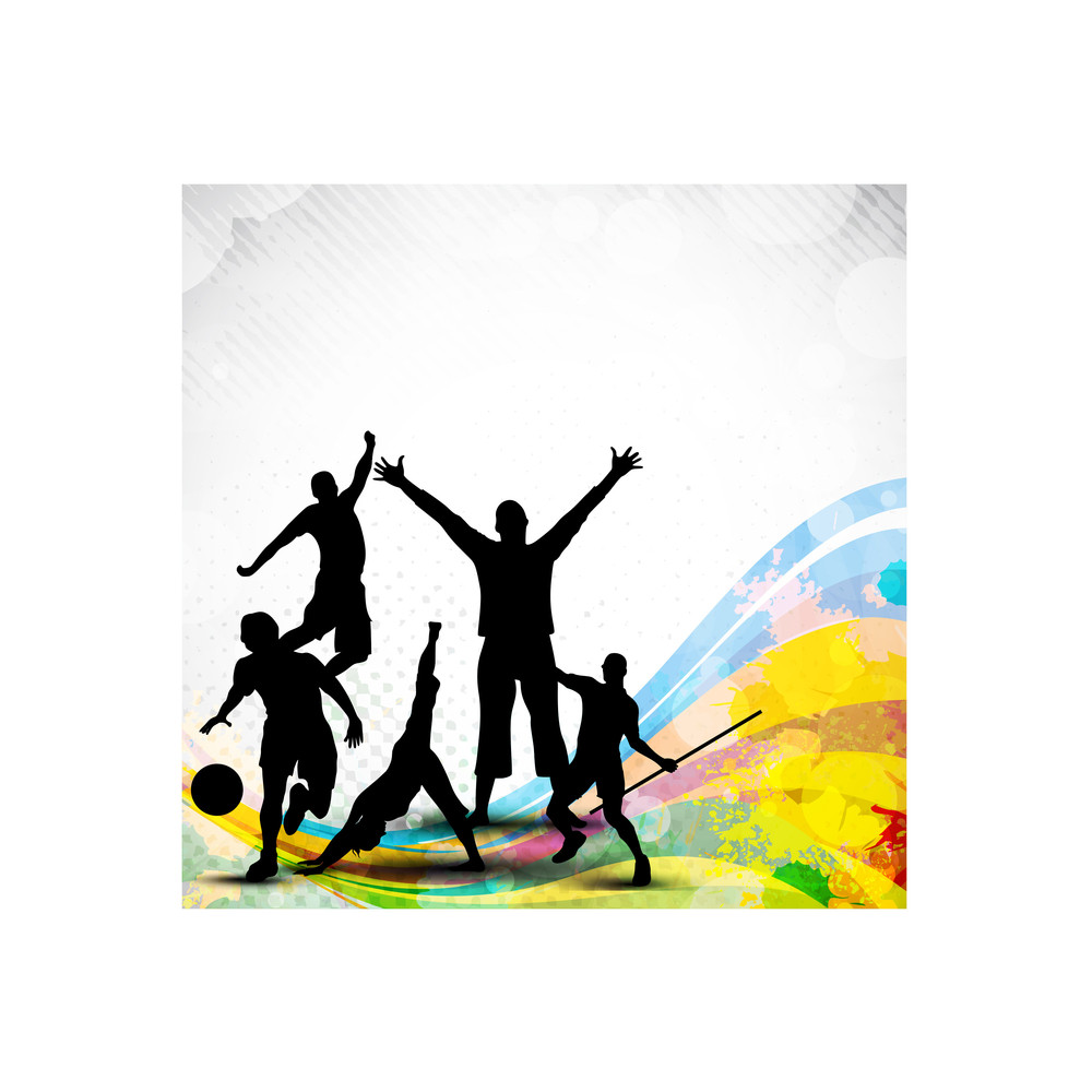 Silhouette Of Sports Persons Or Athletes On Abstract Grungy And Colorful Wave Background.