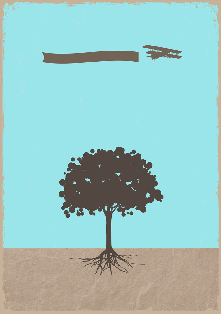 Silhouette Of Tree And Old Plane On Grunge Paper