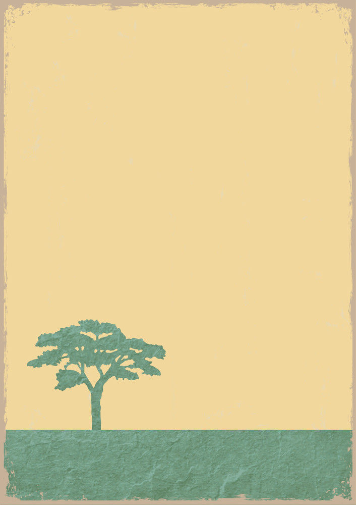 Silhouette Of Tree On Grunge Old Paper