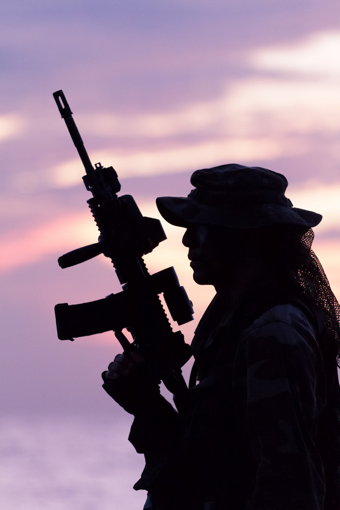 Silhouette Of Us Soldier