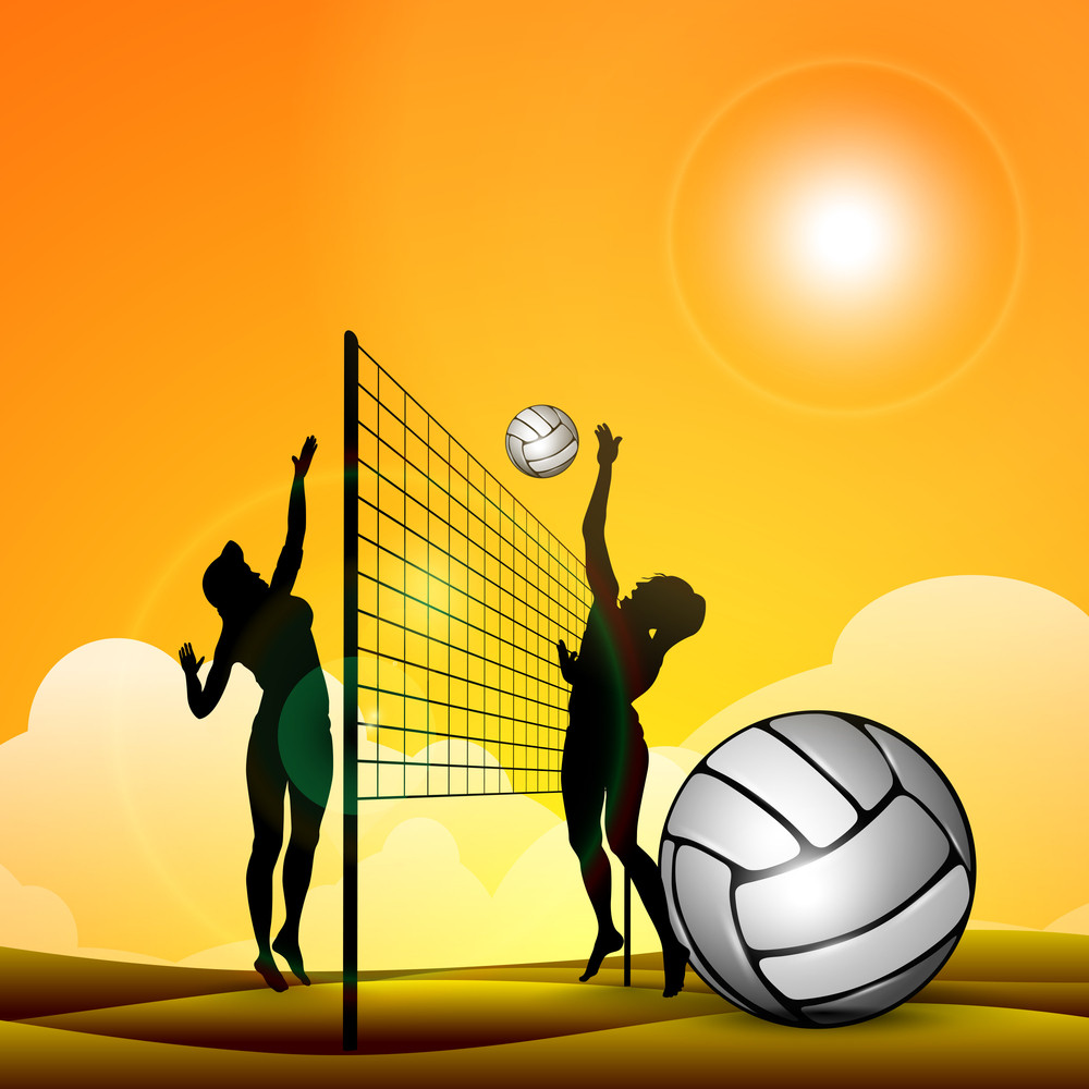 Silhouette Of Volley Ball Girls Player Playing Volleyball Ans Volleyball Icon With Ribbon On Abstract Background.