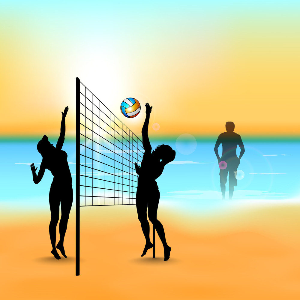 Silhouette Of Volleyballl Girls Player Playing At Beach Side.