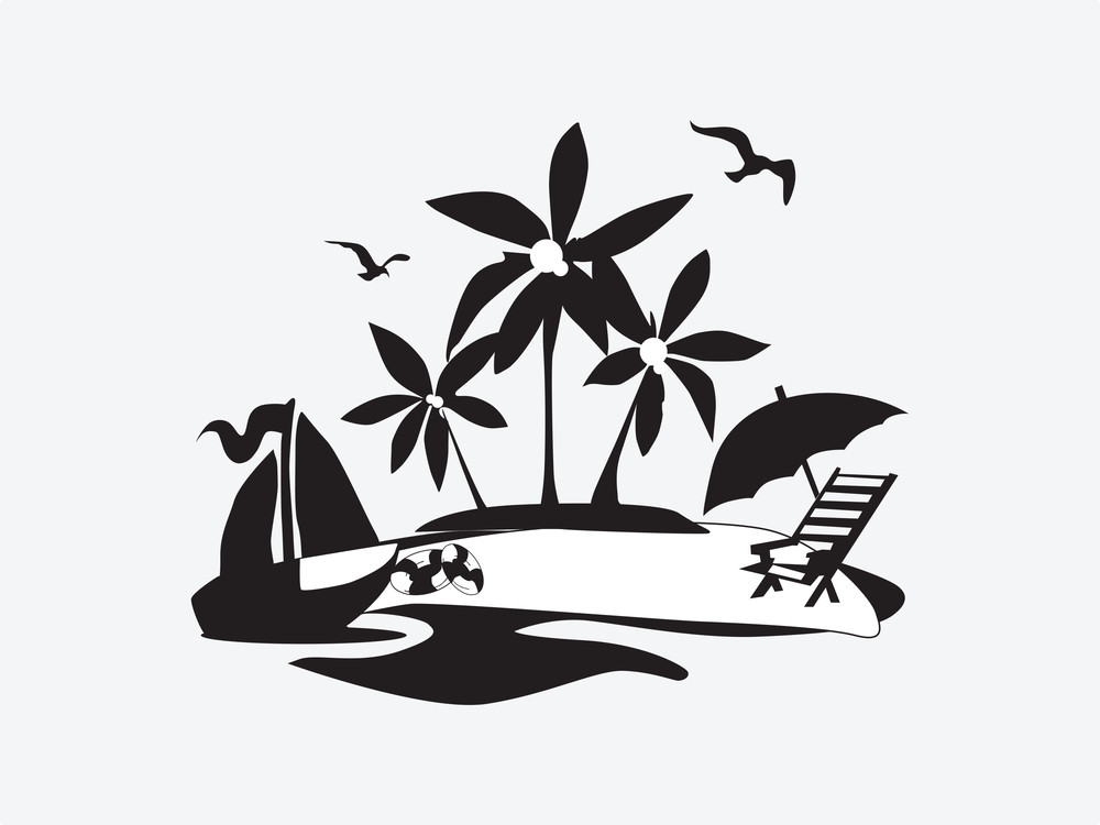 Silhouette Palm Trees On The Beach With Boat
