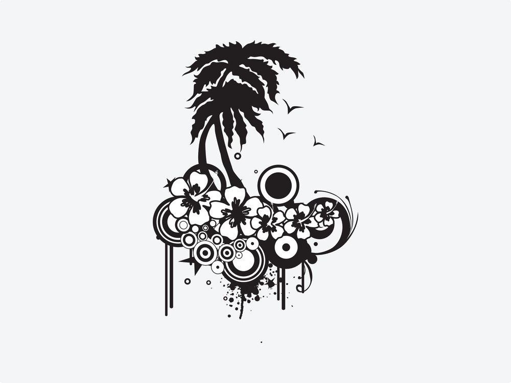 Silhouette Palm Trees With Floral Elements