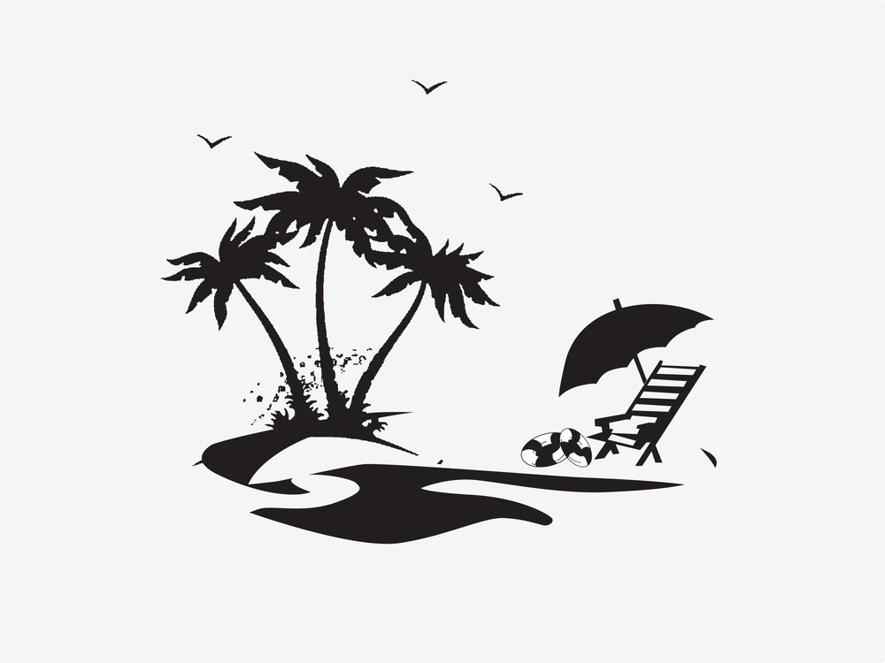 Silhouette Palm Trees With Lounge Chairs On The Beach