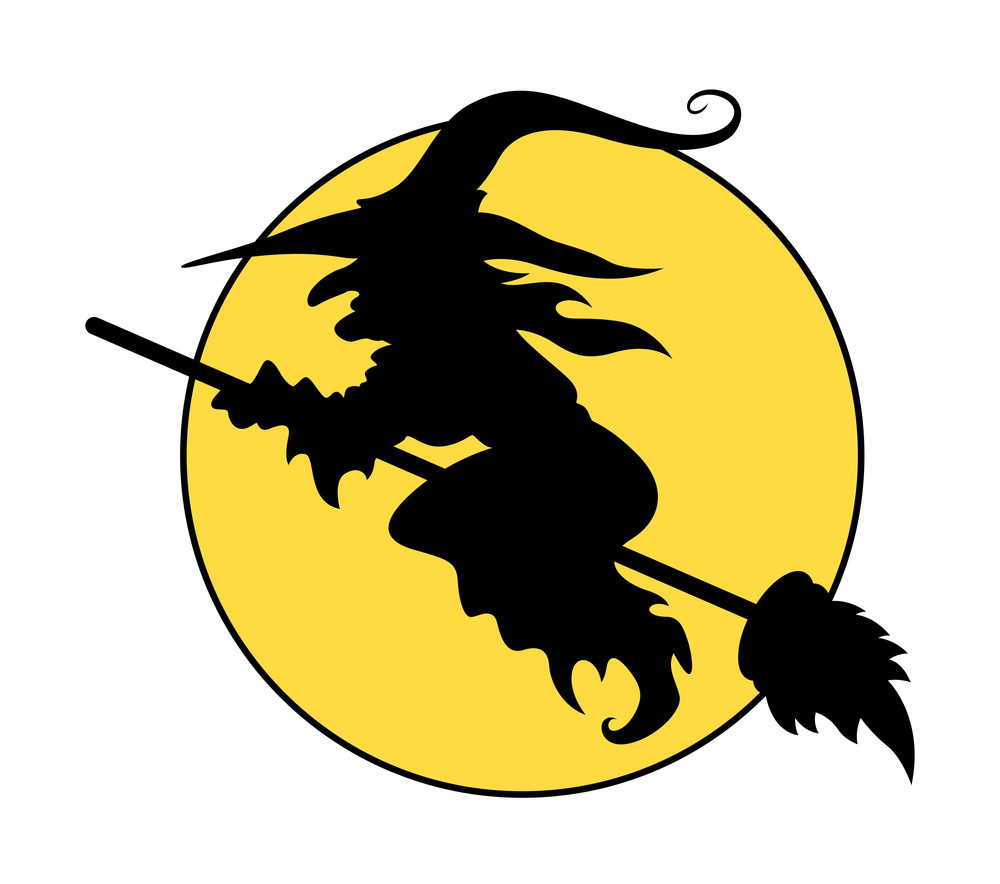 silhouettes of flying witch on broom halloween vector