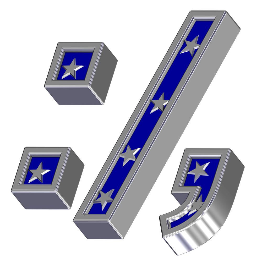 Silver-blue Colon, Semicolon, Period, Comma With Stars Isolated On White