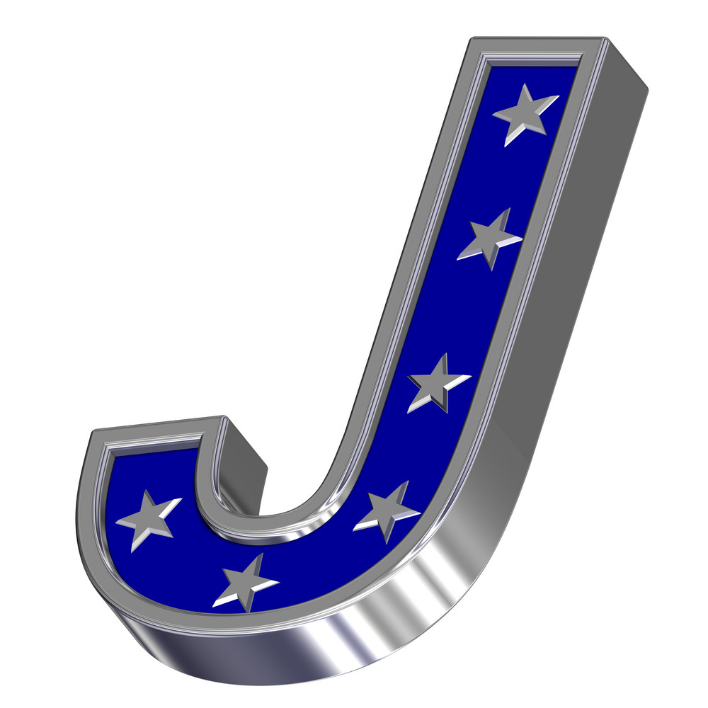 Silver-blue Letter With Stars Isolated On White