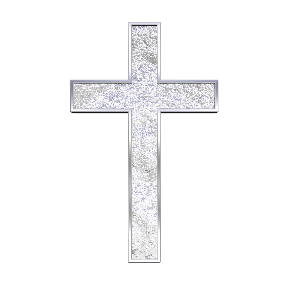 Silver Christian Cross Isolated On White.