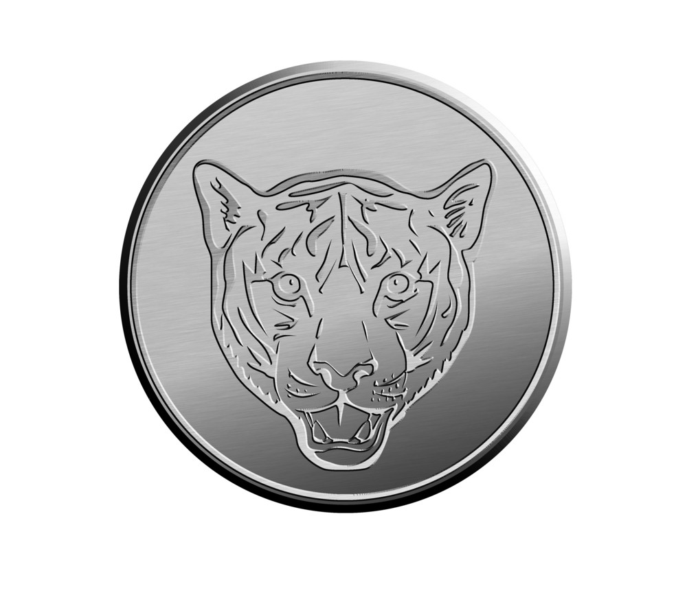 Silver Coin Showing  Head Of A Tiger