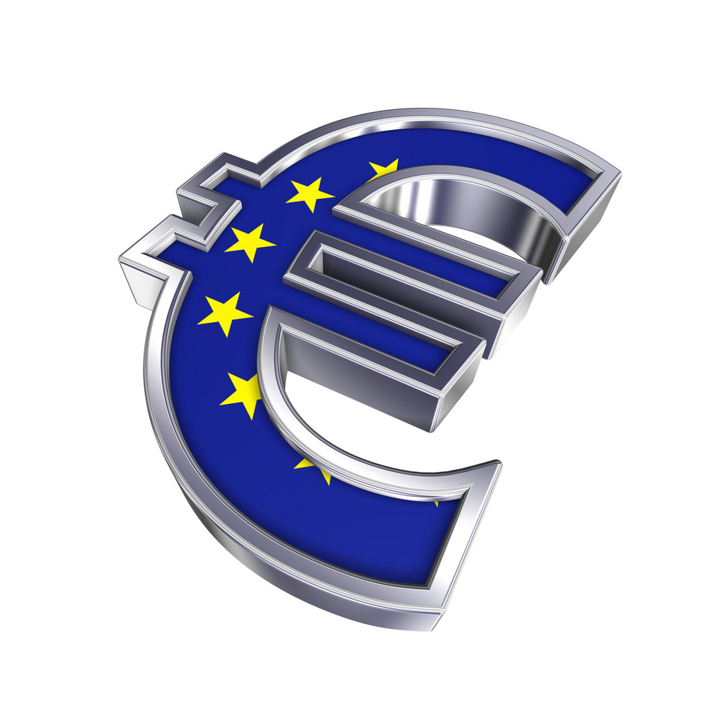 Silver Euro Sign With European Union Flag Isolated On White.