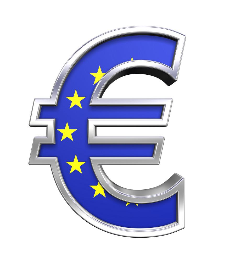 Silver Euro Sign With European Union Flag Isolated On White.