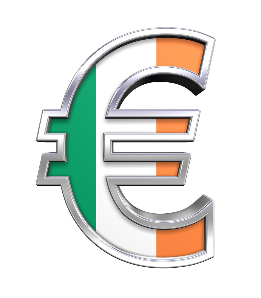 Silver Euro Sign With Ireland Flag Isolated On White.