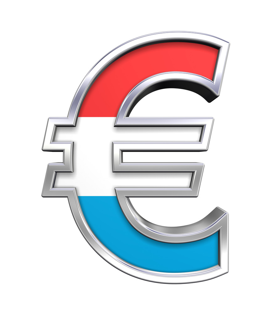 Silver Euro Sign With Luxembourg Flag Isolated On White.