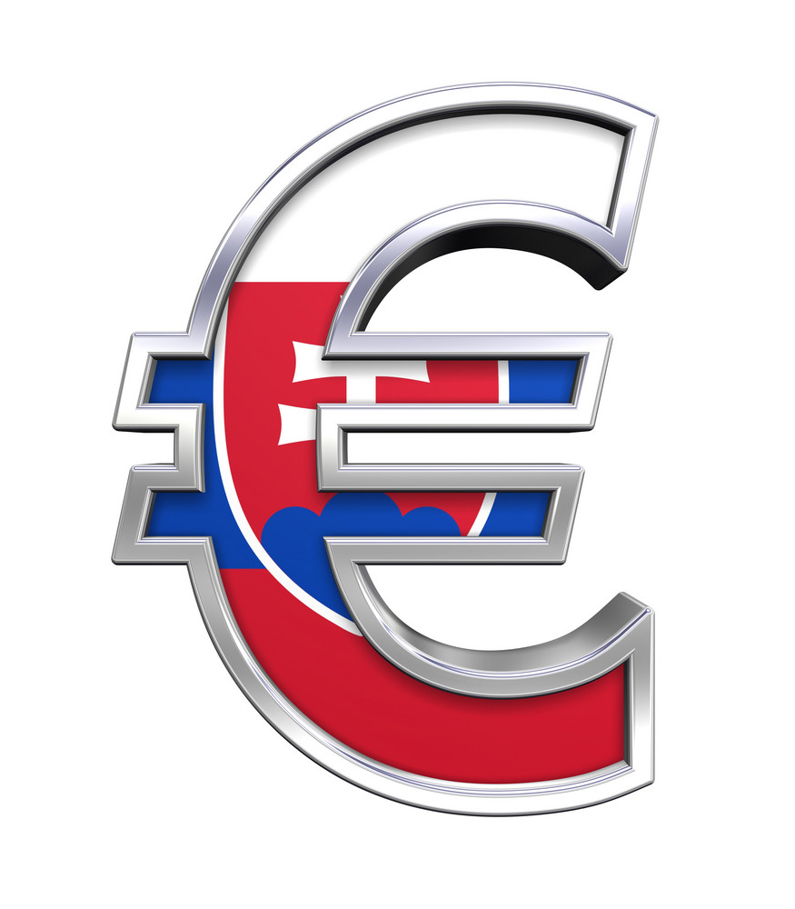 Silver Euro Sign With Slovakia Flag Isolated On White.
