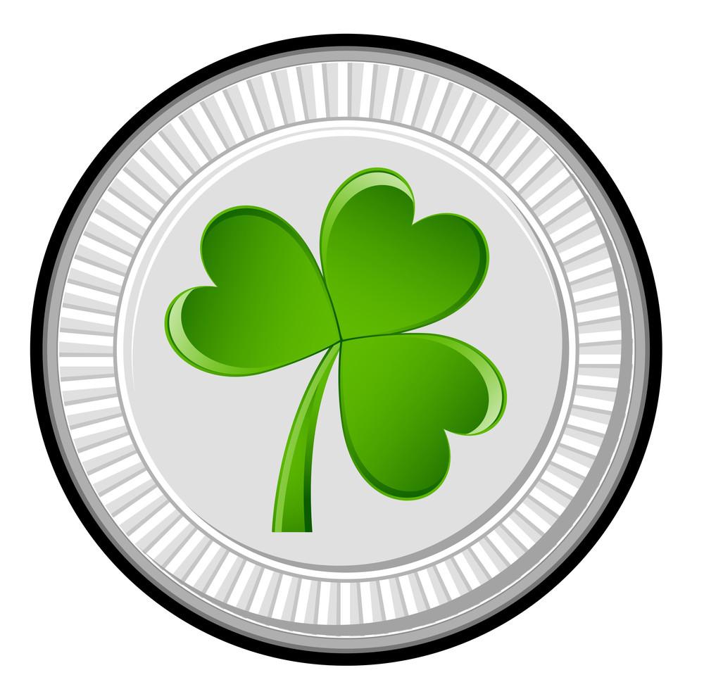 Silver Green Clover Coin