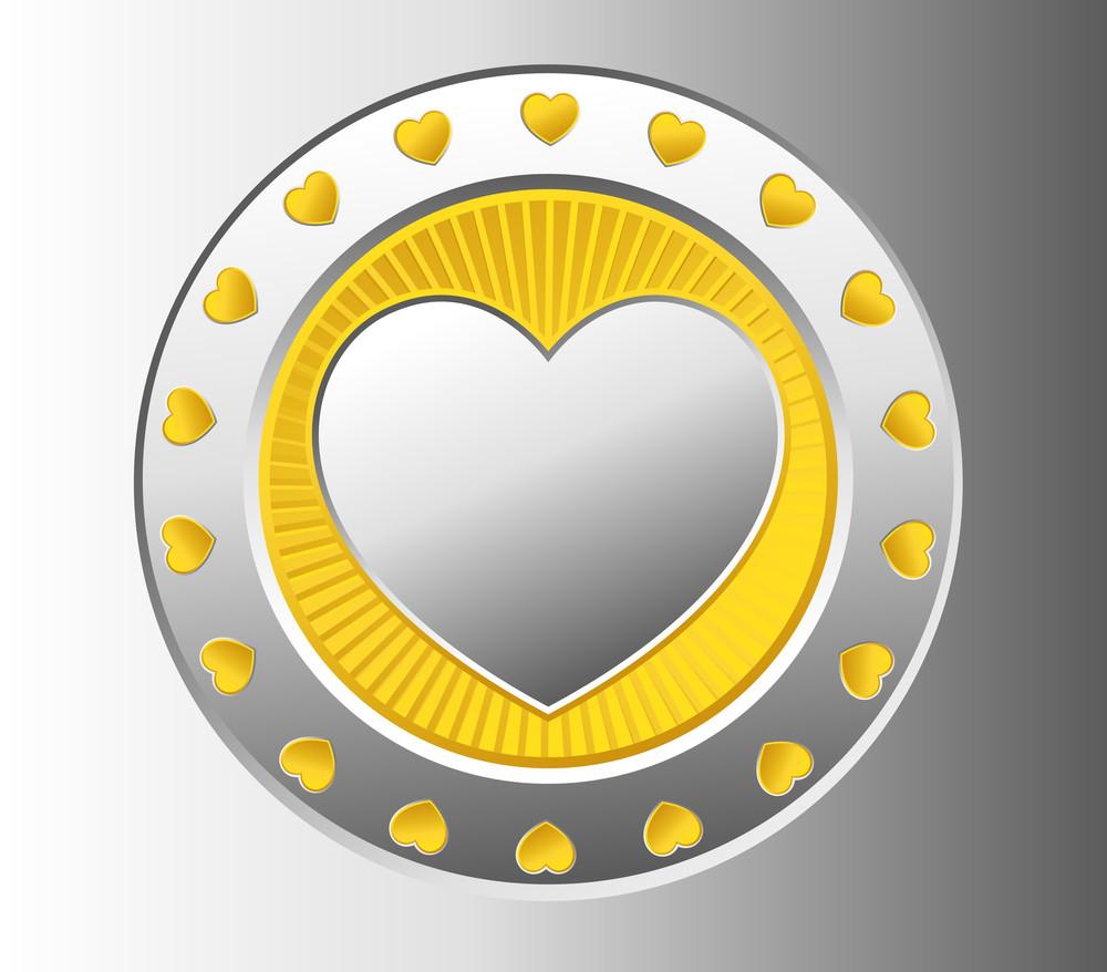 Silver Heart Coin Vector