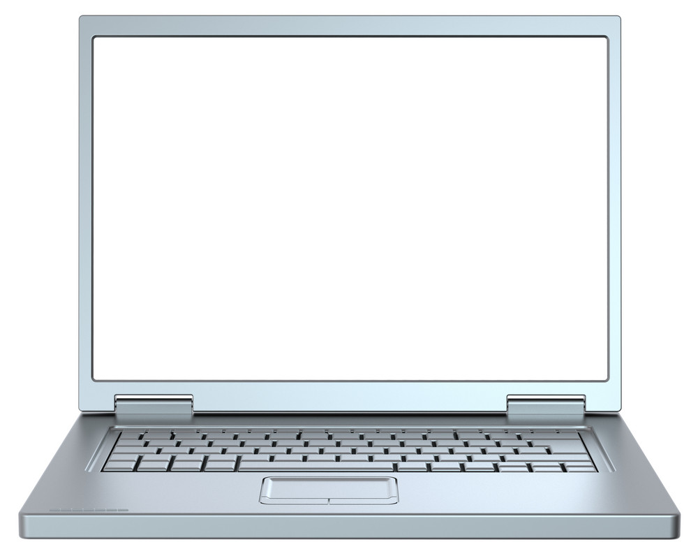 Silver Laptop Isolated On White.