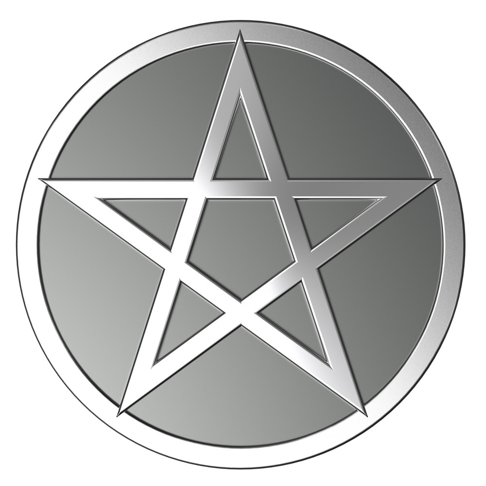 Silver Pentagram Isolated On White.