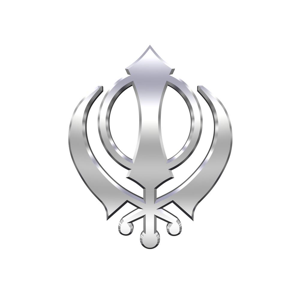 Silver Sikhism Symbol.